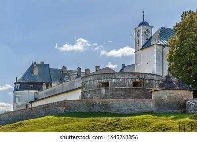 Cerveny Kamen Castle is a 13th-century castle in southwestern Slovakia.  - Shutterstock ID 1645263856