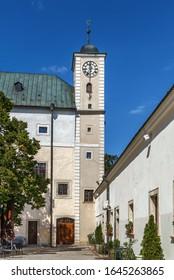 Cerveny Kamen Castle is a 13th-century castle in southwestern Slovakia. Clock tower - Shutterstock ID 1645263865