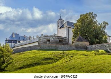 Cerveny Kamen Castle is a 13th-century castle in southwestern Slovakia.  - Shutterstock ID 1959960325