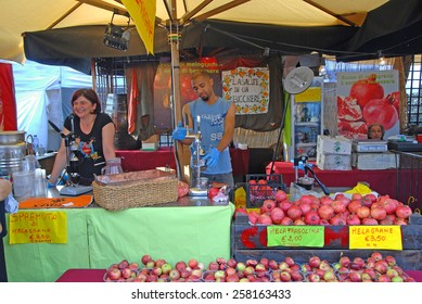 CERVIA, ITALY-SEPTEMBER 21, 2014: Brazilian sauces stand at the annual International food outdoor market. This market is very popular and attract thousands of tourists.