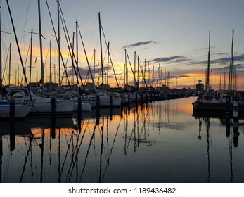 Cervia Milano Marittima Commercial sea port at sunset with boats