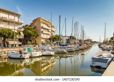 CERVIA (RA), ITALY - MAY 17, 2019: boats mooring in port channel of Cervia.