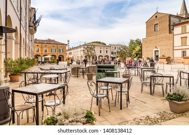 CERVIA (RA), ITALY - MAY 17, 2019: people walking in main square of Cervia