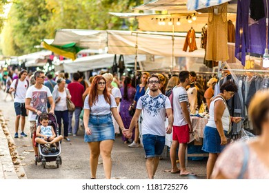 CERVIA (RA), ITALY - SEPTEMBER 16, 2018: tourists visiting European Market, street exhibition of typical products and flavours from Europe