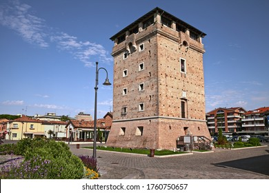 Cervia, Ravenna, Emilia-Romagna, Italy: the ancient defensive Saint Michael tower on the canal port of the picturesque city on the Adriatic Sea coast