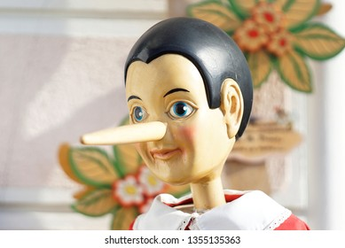Cervia, Ravenna / Italy - March 31 2019: Traditional wooden Pinocchio Toy. Puppet