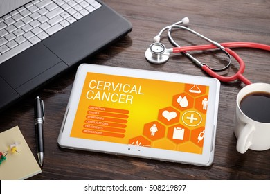 Cervical Cancer on screen tablet pc, health concept. Information technology and mobile application in healthcare/medical.