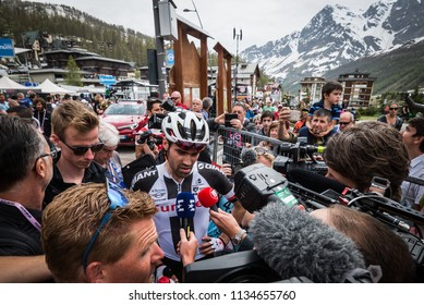 Cervinia, Italy 26 May 2018: Tom Dumoulin, Sunweb Team, attacked by journalists and photografers after the last montain stage of Tour of Italy 2018.