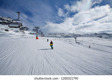 Cervinia, Valle d'Aosta, Italy - Mountain skiing and snowboarding
