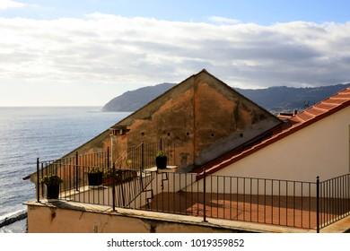 Cervo (IM), Italy - December 30, 2017: A tipycal house in Cervo village, Italian Riviera, Imperia, Liguria, Italy