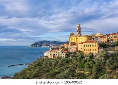 Cervo - medieval hilltop town located on Ligurian coast, province of Imperia, Liguria, Italy