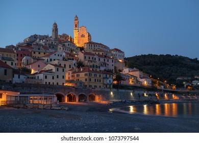 Cervo medieval village by night, Province of Imperia, Liguria region of Italy