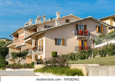 Cescatto, Italy - August 22, 2017: House with patio from the mountain village of Italy
