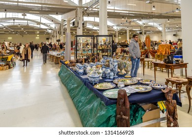CESENA, ITALY - JANUARY 20, 2019: lights are enlightening stuff for sale in Antiques Fair
