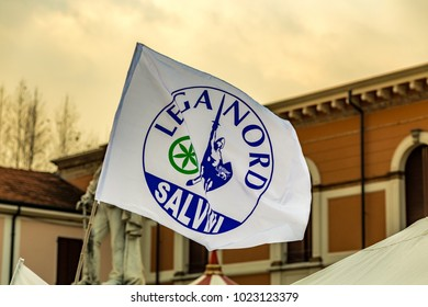 CESENATICO (FC) - FEBRUARY 10, 2018: The Italian party Lega Nord is promoting its electoral propaganda with stations in every city of Italy for the next elections