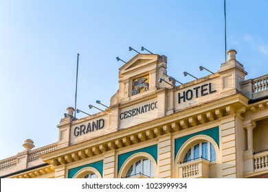 CESENATICO (FC) - FEBRUARY 10, 2018:  angle view of Grand Hotel in Cesenatico, Italy