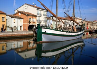 Cesenatico (FC), Italy - January 1, 2019:  Harbor channel Leonardesque, Nativity of the Navy, Marineria Museum (Presepe della Marineria), Cesenatico, Forlì-Cesena, Emilia Romagna, Italy.