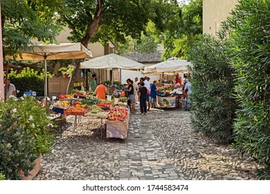 Cesenatico, Forli-Cesena, Emilia-Romagna, Italy - August 22, 2019: the colorful fruits and vegetables farmers market in the ancient town on the Adriatic sea coast
