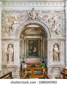 The Cesi Chapel by Antonio da Sangallo il Giovane, in the Church of Santa Maria della Pace in Rome, Italy. April-10-2018