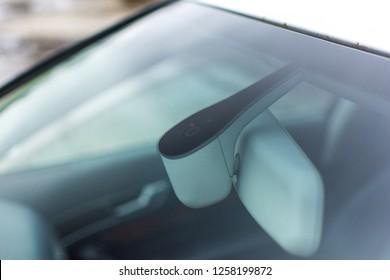Cesis/ Latvija - 12.13.2018: Rain sensor of an Audi A6 2005
