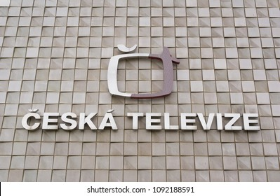 CESKA TELEVIZE, KAVCI HORY, PRAGUE, CZECH REPUBLIC / CZECHIA - MAY 14, 2018: Logo of national broadcasting company. Public broadcaster, provider of channel for education, culture, fun and information
