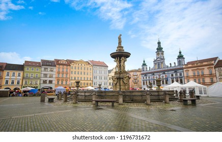 CESKE BUDEJOVICE, CZECH REPUBLIC - 18 October, 2017: The Samson fountain at square of King Premysl with the Renesance Town Hall building in Ceske Budejovice