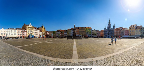 CESKE BUDEJOVICE, CZECH REPUBLIC - 24 JULY, 2019: Central town square with Samson fighting the lion fountain sculpture and bell tower in Ceske Budejovice.