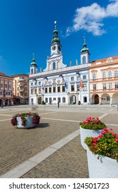 CESKE BUDEJOVICE, CZECH REPUBLIC - AUGUST 12: Renesance Town Hall on the main square build in XV century; August 12, 2012 in Ceske Budejovice, Czech Republic