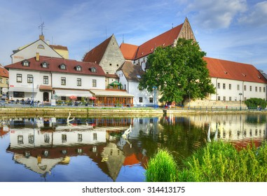 CESKE BUDEJOVICE, CZECH REPUBLIC - AUGUST 21, 2015: The historic city center. Ceske Budejovice is the largest city in the South Bohemian Region as well as its political and commercial capital