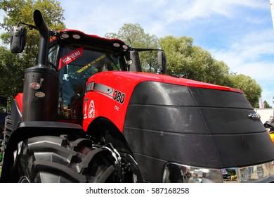 CESKE BUDEJOVICE, CZECH REPUBLIC - August 27, 2015: Detail of red Case tractor bonnet, brand new machine
