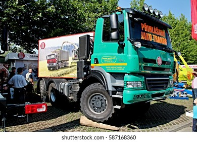 CESKE BUDEJOVICE, CZECH REPUBLIC - August 27, 2015: New Tatra Agrotruck, lorry homologated as tractor for agricultural transportation