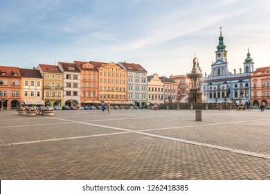 CESKE BUDEJOVICE, CZECH REPUBLIC - JULY 1, 2010: The central square of the city with The Samson fountain.