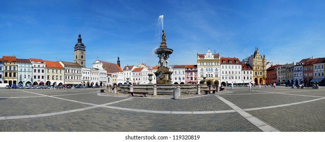 CESKE BUDEJOVICE, CZECH REPUBLIC - JUNE 10: Panorama of Town Square on June 10, 2010 in Ceske Budejovice, Czech Republic. With area of 1.7 hectares this is a second largest square in Czech Republic.