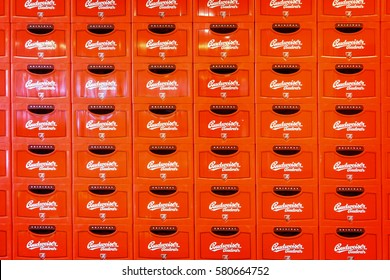 Ceske Budejovice, Czech Republic - June 30, 2016: Budvar Budweiser brewery. Wall of beer crates.