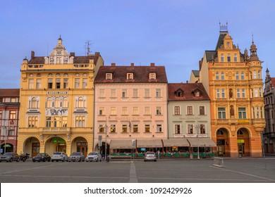 Ceske Budejovice, Czech Republic-April 29, 2018 : Traditional Pastel Buildings in Ceske Budejovice.