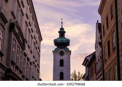 Ceske Budejovice, Czech Republic-April 29, 2018 : View to the tower of Church of Presentation of Virgin Mary in Ceske Budejovice, Czech Republic.