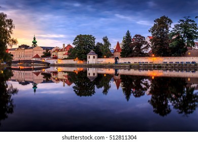 Ceske Budejovice. Dusk in one beautiful city in the Czech Republic, the home of the famous beer Budweiser.