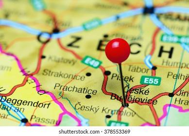 Ceske Budejovice pinned on a map of Czech Republic