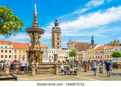 CESKE BUDEJOVICE,CZECH REPUBLIC - JUNE 20,2019 - At the Main Square of Ceske Budejovice. Ceske Budejovice is the largest city in the South Bohemian Region.