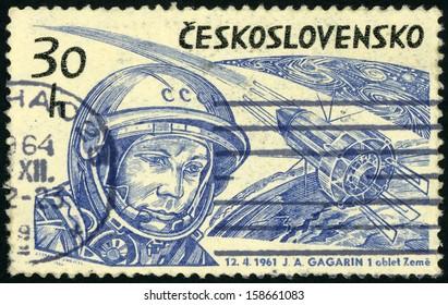CESKOSLOVENSKO � CIRCA 1965: stamp printed in Czechoslovakia shows Soviet cosmonaut Yuri A. Gagarin (first human to journey into outer space) & spacecraft Vostok; Scott 1233 A472 30h blue, circa 1965