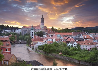 Cesky Kromlov, Czech Republic. Image of Cesky Krumlov, located in southern Czech Republic during sunset.