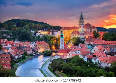 Cesky Krumlov. Aerial cityscape image of Cesky Krumlov, Czech Republic during summer sunset.