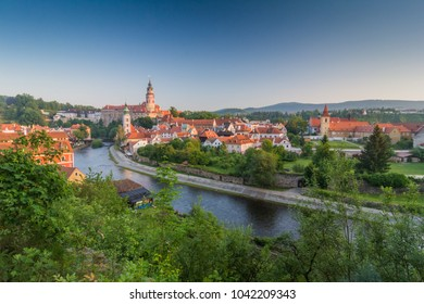 Cesky Krumlov castle and Vltava river view in the morning, in Summer time
