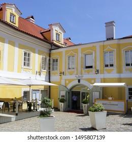 Cesky Krumlov, Czech - 4 September 2019.: Restaurant Le Jardin