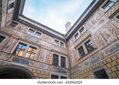 Cesky Krumlov, Czech Republic - 14 April 2017 : Interior Court of Cesky Krumlov Castle, a Museum located in the city Cesky Krumlov.