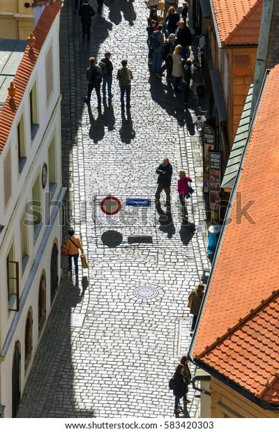 Cesky Krumlov, CZECH REPUBLIC, 25 SEPTEMBER, 2015: City sreet with people