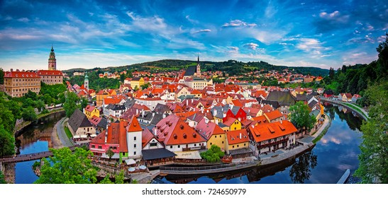CESKY KRUMLOV, CZECH REPUBLIC - 8 AUGUST, 2017: Panoramic view on the old town of Cesky Krumlov, Czech Republic on 8 August, 2017.