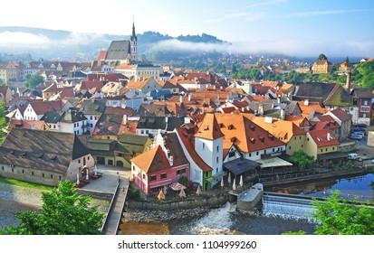 CESKY KRUMLOV, CZECH REPUBLIC - AUGUST 1: Summer view of Cesky Krumlov old town on August 1, 2014. Cesky Krumlov is a small city located in South Bohemian Region of the Czech Republic