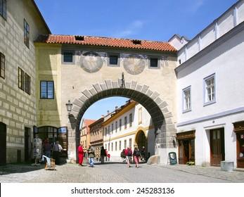 CESKY KRUMLOV, CZECH REPUBLIC - MAY 20, 2013: medieval gate to castle, town Cesky Krumlov (UNESCO), South Bohemia, Czech republic, Europe