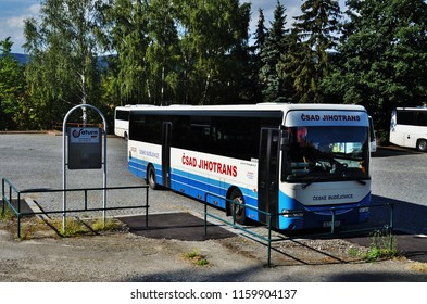 Cesky Krumlov, Czech Republic – September 12, 2015: Czech Krumlov bus stop, sidl.Mi